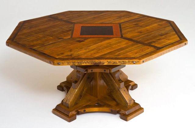 Round or Octagon Reclaimed Wood Dining Table Rustic  : rustic dining tables from www.houzz.com size 640 x 420 jpeg 66kB