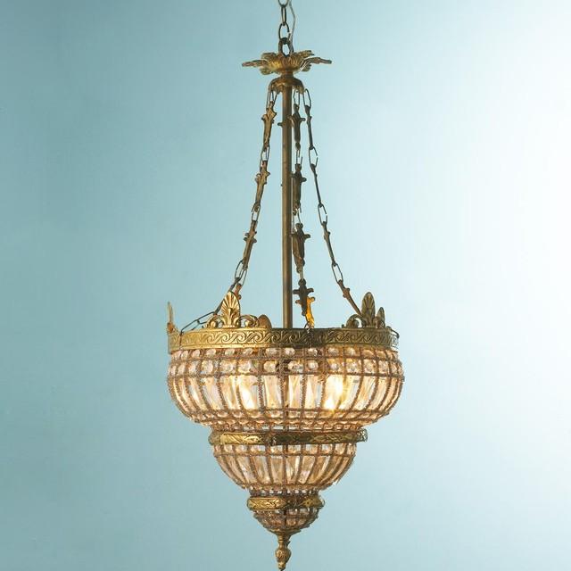 Vintage Crystal Basket Chandelier with Wave Banding ceiling-lighting