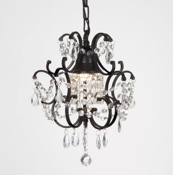 Versailles 1 light black crystal mini chandelier for Small chandeliers for bathrooms