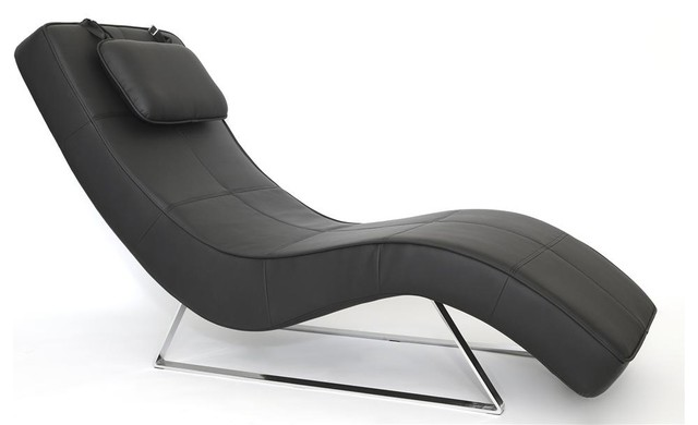 S curve chaise in black contemporary indoor chaise for Black chaise lounge indoor