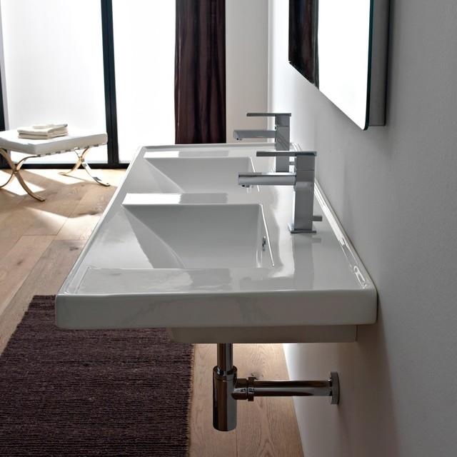 Beautiful Rectangular Double Ceramic Sink Modern