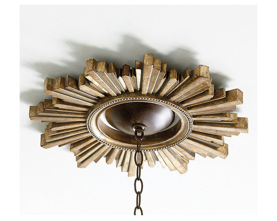 """Ballard Designs - Sunburst Ceiling Medallion - Antique Gold finish. Light, easy-to-hang. The staggered rays create instant an architectural focal point for your chandelier. Generous 6 3/4"""" diameter center opening fits most chandelier ceiling canopies and allows your ceiling color to become part of the design.Sunburst Ceiling Medallion features: . ."""