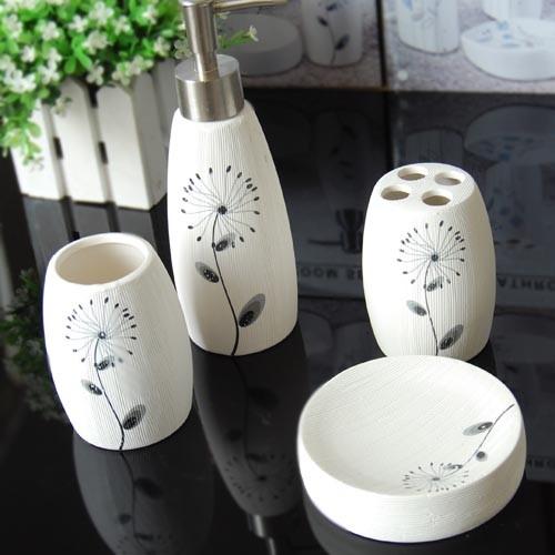 Beautiful Dandelion Ceramic Bath Accessory Set Modern