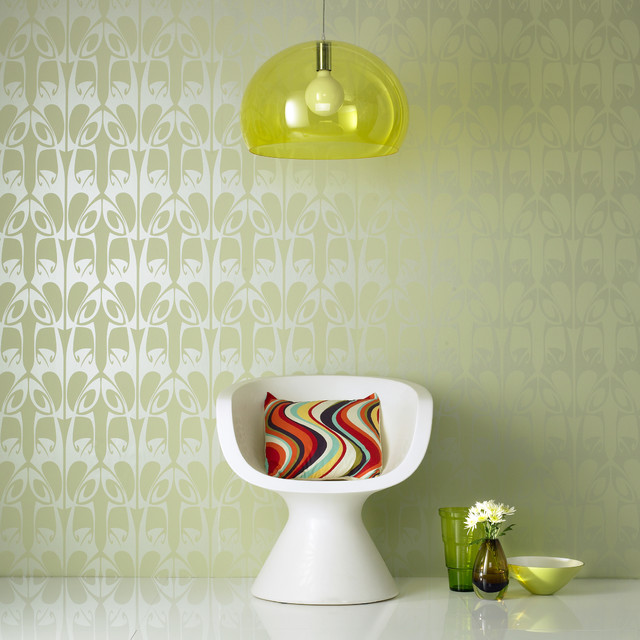 Hula Wallpaper, Green contemporary wallpaper