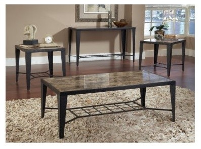 Bernards Black Faux Marble with Metal 3 Piece Coffee Table Set modern-coffee-tables