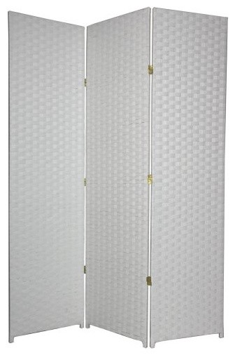 Woven Fiber White Room Divider contemporary screens and wall dividers