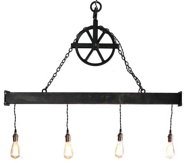 Rustic Light Industrial Chandelier Rope Pulley By: Handcrafted 4 Light Steel Beam Chandelier With Hanging