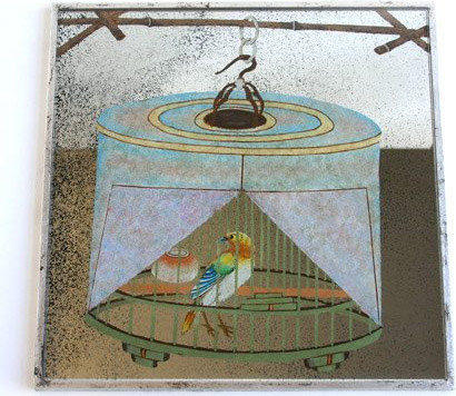 Dransfield & Ross Bird In Covered Cage Mirror Placemat contemporary-placemats