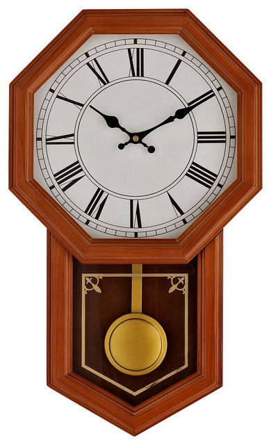 Honor pine wood case pendulum wall clock modern clocks by lexmod - Stylish pendulum wall clock ...