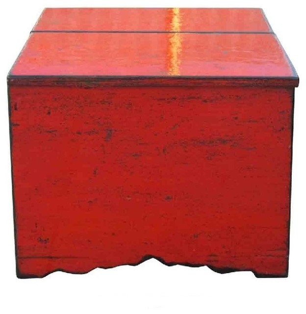 Simple Top Lid Rustic Red Lacquer Wooden Trunk Table Eclectic Coffee Tables