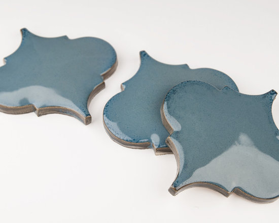 "Ceramic - ANN SACKS Revival 6"" x 6"" arabesque pillowed ceramic field in new lagoon"