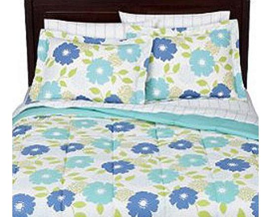 Target Corporation - Aqua Re Biab Floral Blue Flowers Queen Size Bedding Set - Features: