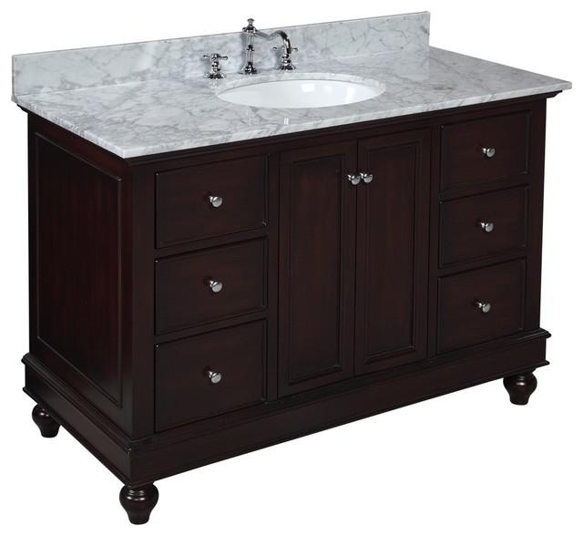 Bella 48-in Bath Vanity (Carrara/Chocolate) transitional-bathroom-vanities-and-sink-consoles