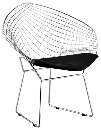 Set of Two Net Chair Steel and Black Leatherette contemporary-living-room-chairs