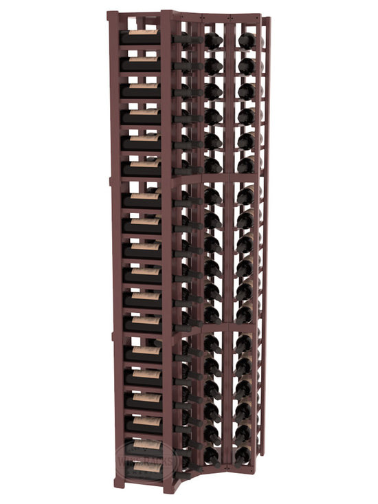 Wine Racks America® - 4 Column Wine Cellar Corner Kit in Pine, Walnut Stain + Satin Finish - Get the most storage in your wine cellar with unique corner wine racks. We construct every rack to our industry-leading standards and back them up with our lifetime warranty. Designed with emphasis on functionality, these corner racks fit seamlessly into our modular line of wine racks.