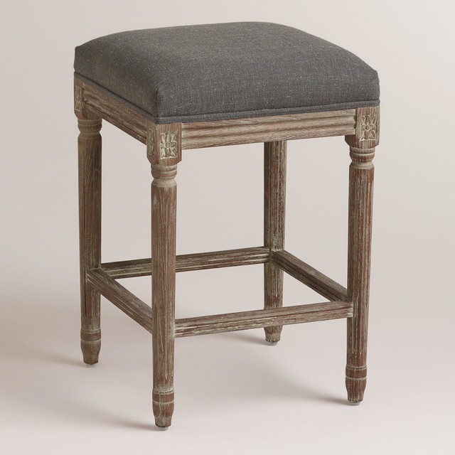 Charcoal Linen Paige Backless Counter Stool Contemporary