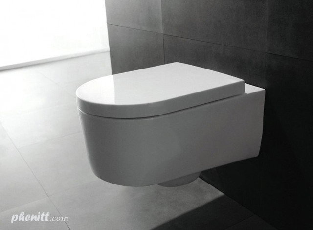 Phenitt Wall Hung Toilet WC with Soft Close Seat Cover industrial-toilet-seats