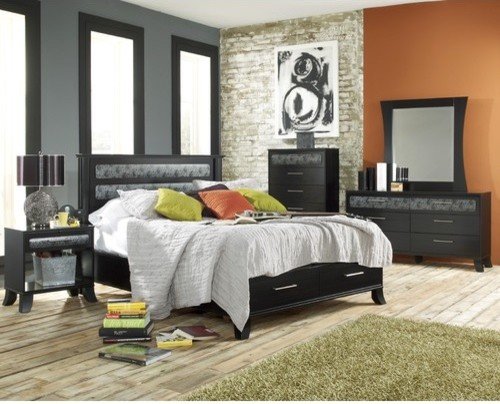 Black Earth Panel Bed modern-beds