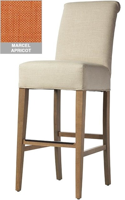 Custom Roll Back Bar Stool Ash Grey Marcel Apricot