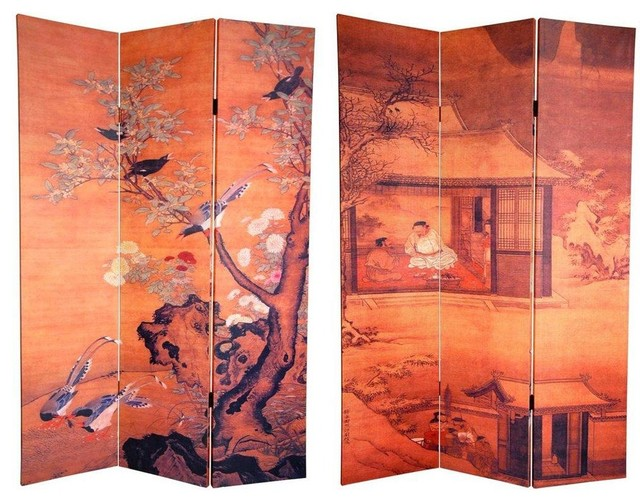 6 ft. Tall Double Sided Chinese Landscapes Canvas Room Divider eclectic-screens-and-room-dividers