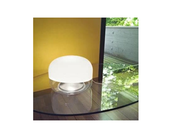Medusa Classic Table Lamp By Leucos Lighting - Medusa from Leucos is a retro table lamp available in two sizes that features a blown glass shade of clear glass with a gloss white overlay.