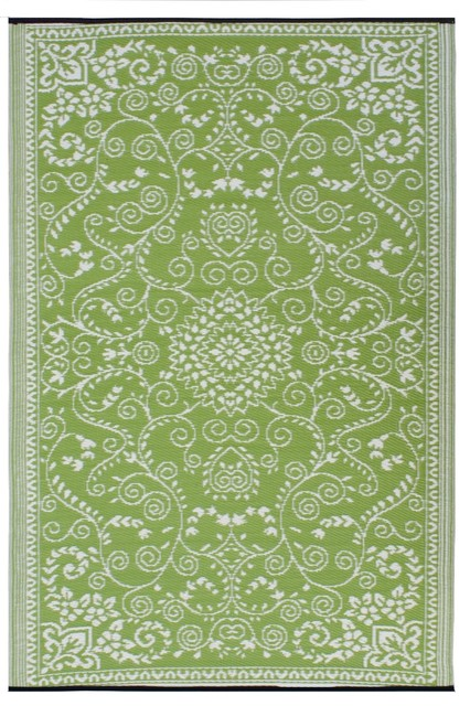Fab habitat murano indoor outdoor rug lime green and for Green and cream rugs