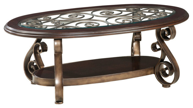 Standard Furniture Bombay Oval Glass Top Cocktail Table Traditional Coffee Tables By