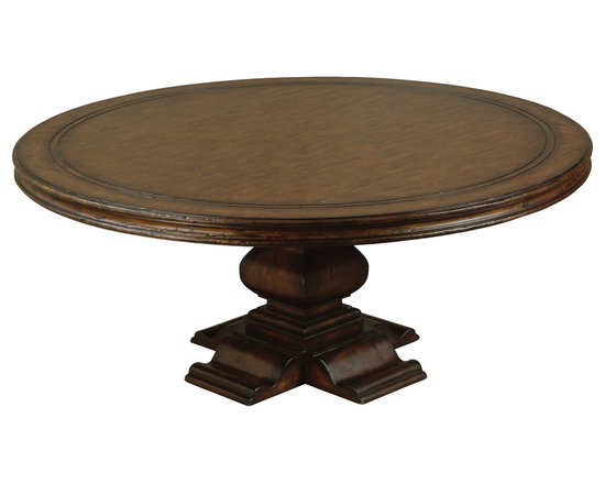 """Ambella Home - Aspen Round Dining Table - 72"""" - The Aspen collection is carved from solid hardwood with an oak veneer top. Its rich mahogany finish makes it the perfect accent in any room.   Imported."""