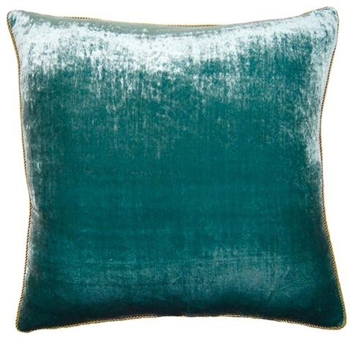 Peacock Teal Velvet Throw Pillow Modern Decorative Pillows