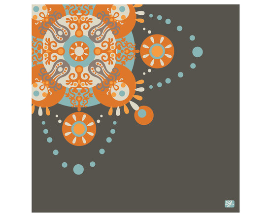 """Emma at Home - Elegant Print, Ink, 16"""" x 20"""" - The intricate design on this print gets a contemporary spin thanks to its off-center placement and unexpected colorways. The citron and buff pink combination is too fun, but each option offers its own eclectic splash of style."""