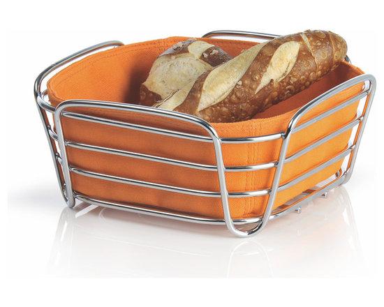 Blomus - Delara Bread Basket, Orange, Large - The Blomus Delara Bread Basket is made with chrome-plated steel and cotton fabric insert.