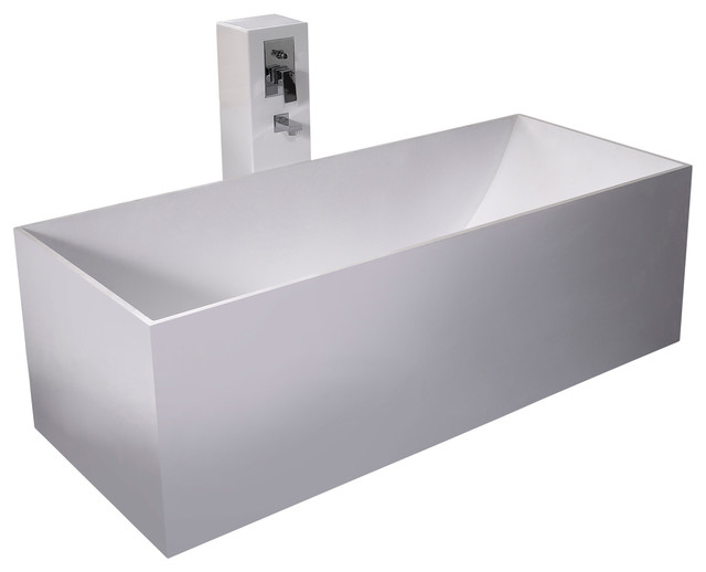 Stand Alone Bathtubs : ADM White Stand Alone Solid Surface Stone Resin Bathtub, Matte ...