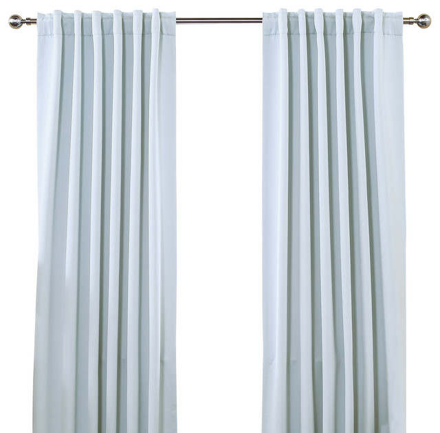 "Solid Backtab Thermal Insulated Blackout Curtains - 1 Pair, Sky Blue, 72"" - Traditional ..."