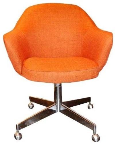 Saarinen Style Orange Chair on Casters Midcentury
