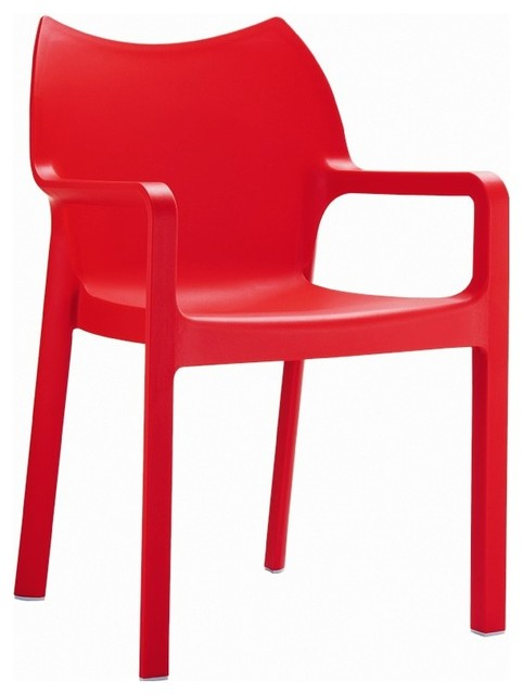 Diva Resin Outdoor Dining Arm Chair Red (Set of 4) contemporary-outdoor-chairs