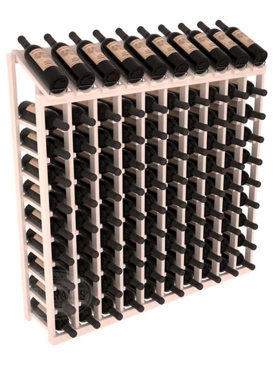 Wine Racks America - 100 Bottle Display Top Wine Rack, White Wash Stain + Satin Finish - Make your top 10 vintages focal points of your cellar or store. Our wine cellar kits are constructed to industry-leading standards. You'll be satisfied. We guarantee it. Display top wine racks offer ample storage below a presentation row. Great as a stand alone unit or paired with other modular racks from our product lineup.