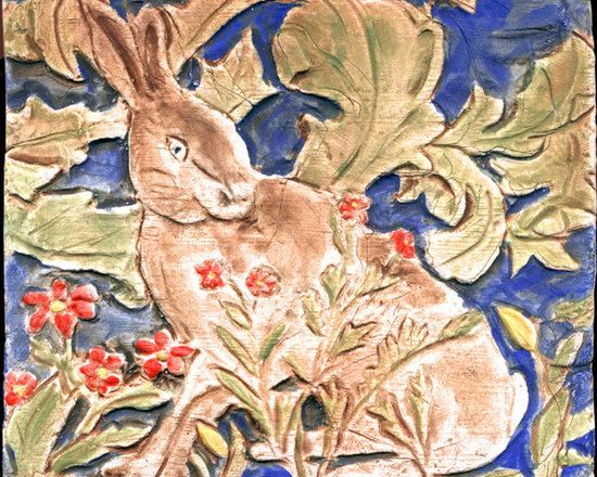 """William Morris Hare - This handmade porcelain tile was inspired by the Forest Tapestry by William Morris made in 1887, which now hangs in the Victoria and Albert Museum in London.  The tile is 4 x 4""""."""