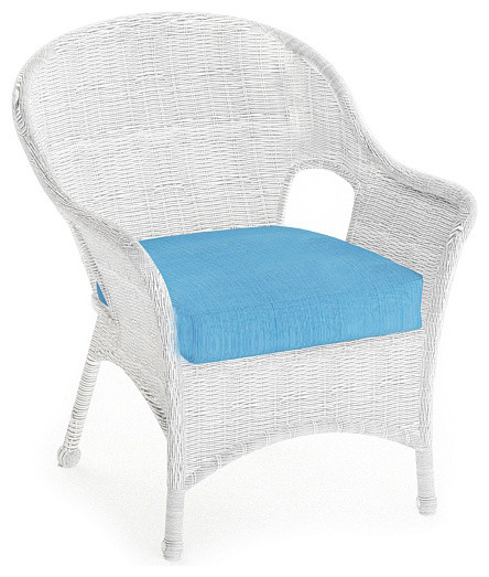 Rockport Traditional Patio Lounge Chair, Air Blue Cushions traditional-outdoor-chairs