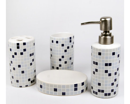 Morden Mosaic Ceramic Bath Accessory Set - Bath Accessory Sets