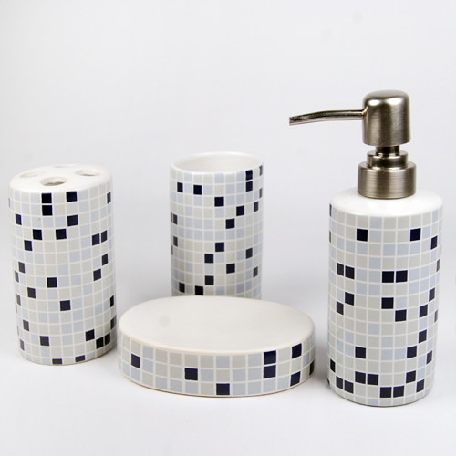Morden mosaic ceramic bath accessory set modern for Ceramic bathroom accessories sets