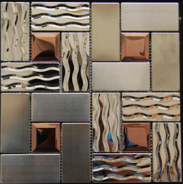 Stainless Steel Mosaic Tiles Glass mosaic tile backsplash mosaic tiles SSMT269 modern-mosaic-tile