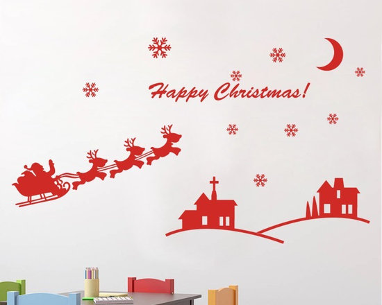 ColorfulHall Co., LTD - Window Stickers DIY Santa Claus and Elk Deer Home Houses Moon Stars - Window Stickers DIY Santa Claus and Elk Deer Home Houses Moon Stars