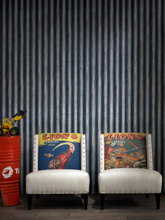 Kathy Kuo Home - Industrial Loft Palmer Corrugated Steel Wallpaper - Iron - Bring a quirky trompe l'oeil effect to your favorite eclectic setting. This coated wallpaper realistically mimics corrugated metal for a cool industrial-chic vibe.