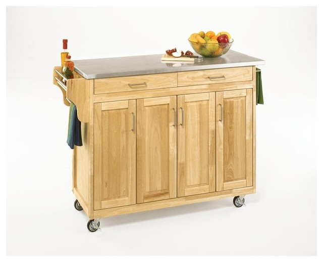 Home styles create a cart 49 inch stainless top kitchen for Home styles natural kitchen cart with storage