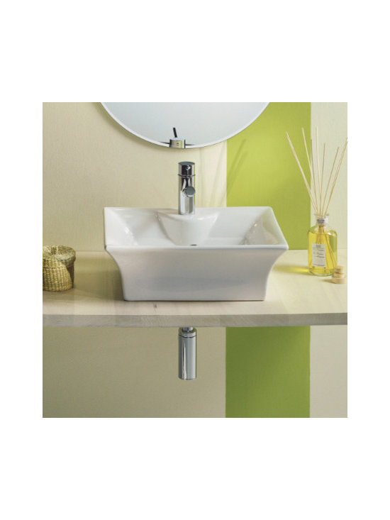 "Scarabeo - Beautiful Contemporary Above Counter Vessel Sink by Scarabeo - Beautiful contemporary rectangular bathroom sink made of white ceramic. Above counter vessel sink designed with arched edges. Designed and manufactured in Italy by Scarabeo. Sink comes with overflow and a single faucet hole. Sink dimensions: 18.90"" (width), 15.20"" (depth)"