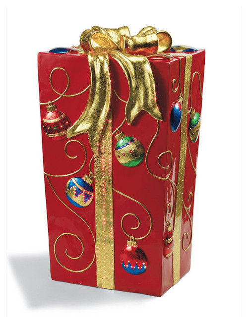 Fiber Optic Red Gift Box - Frontgate - Outdoor Christmas Decorations ...