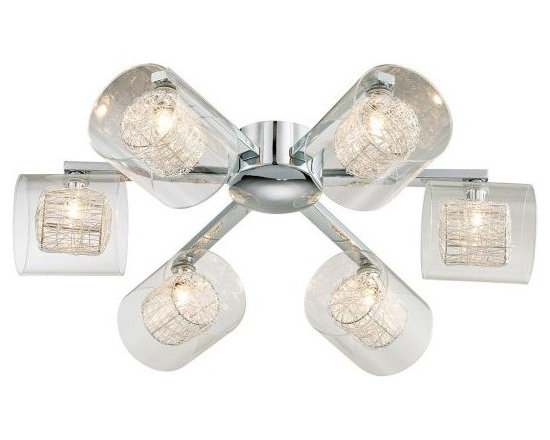 Modern Wire and Glass Cylinder Possini Euro Ceiling Light -