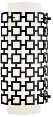 Jonathan Adler Parker Bronze with White Glass Wall Sconce mediterranean-wall-sconces