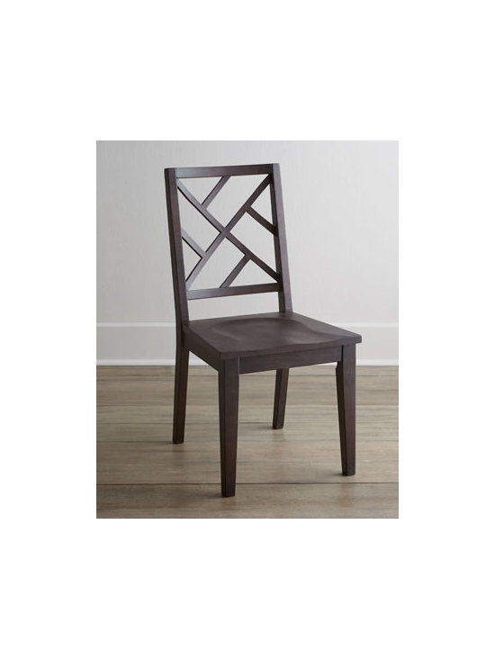 """Horchow - Two """"Karington"""" Espresso Side Chairs - Imagine the possibilities—lattice-back chairs that mix and match with other pieces for casual dining at its best. Handcrafted of ash solids and quartered ash veneers. Hand-painted finish. Side chair sold in pairs; each, 18.5""""W x 17.5""""D x 37.75""""T. Imported. Boxed weight, approximately 44 l"""