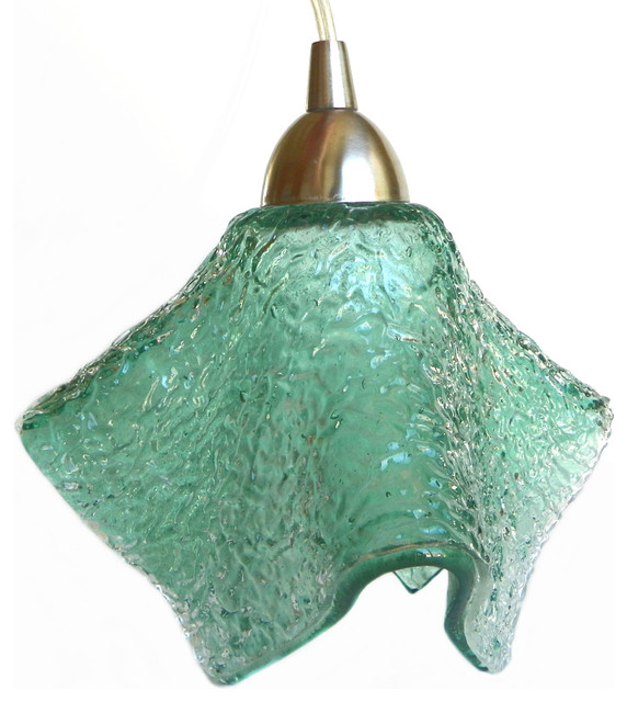 Sea Foam Textured Mini Pendant Light Fixture. pendant-lighting